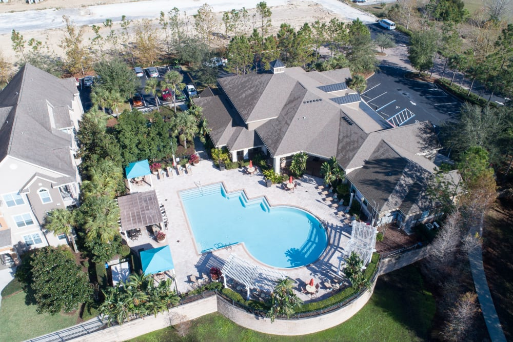 Aerial view of the pool at Landings at Four Corners in Davenport, Florida