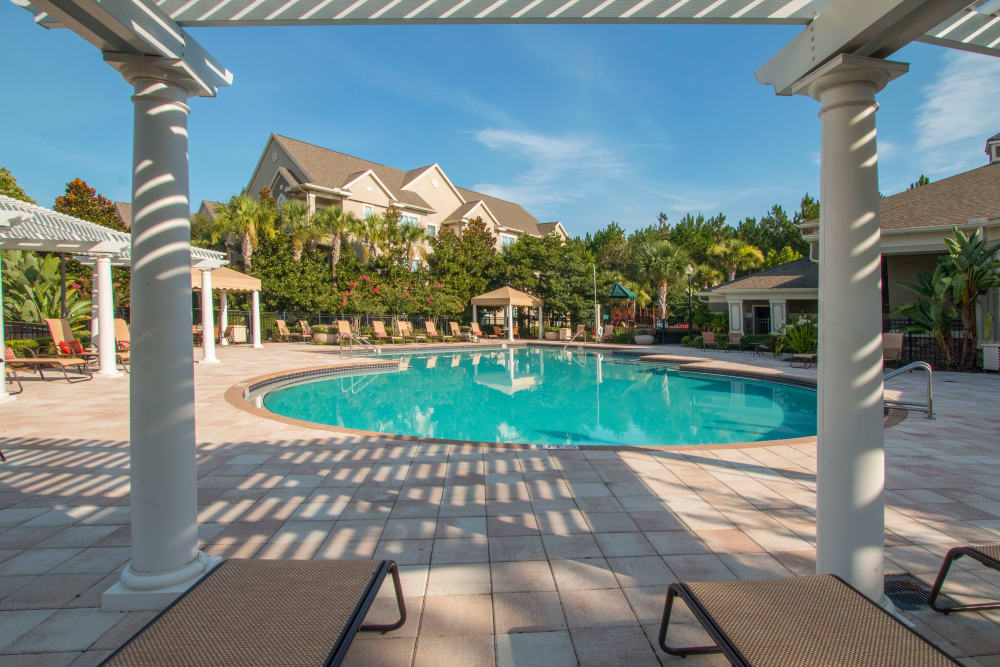 View of the pool from the patio at Landings at Four Corners in Davenport, Florida
