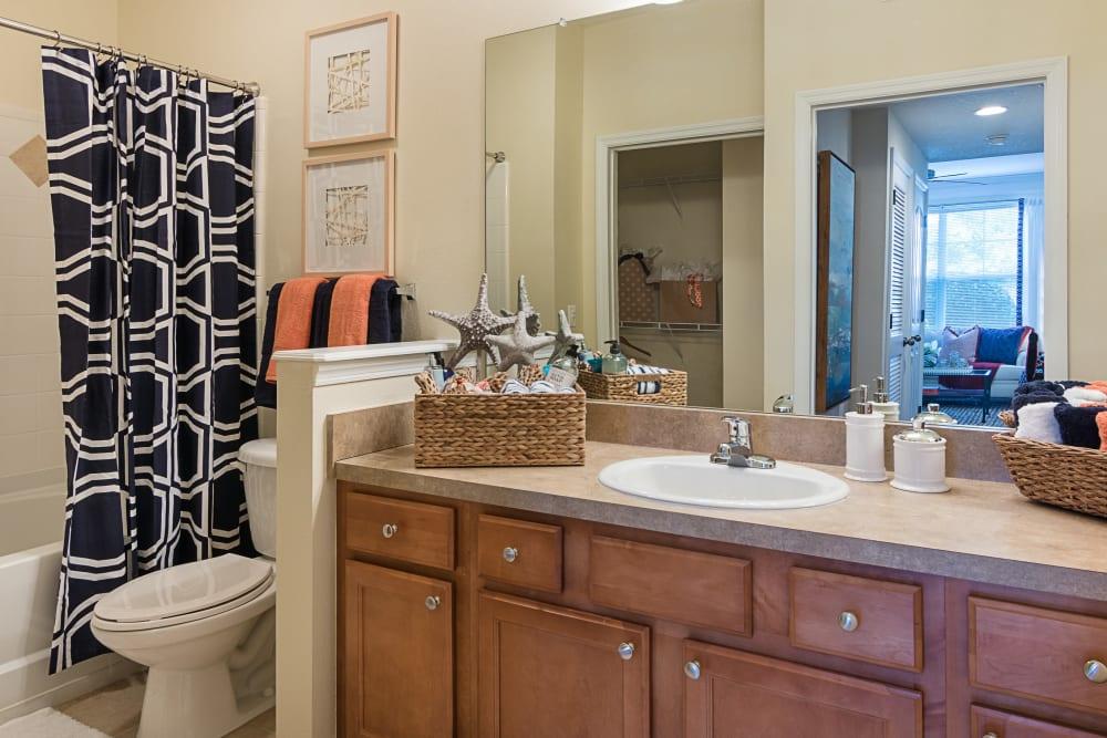 Model bathroom at Landings at Four Corners in Davenport, Florida