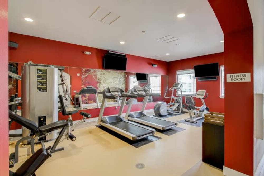 Fitness center with individual work stations at LARC at Kent in Kent, Washington