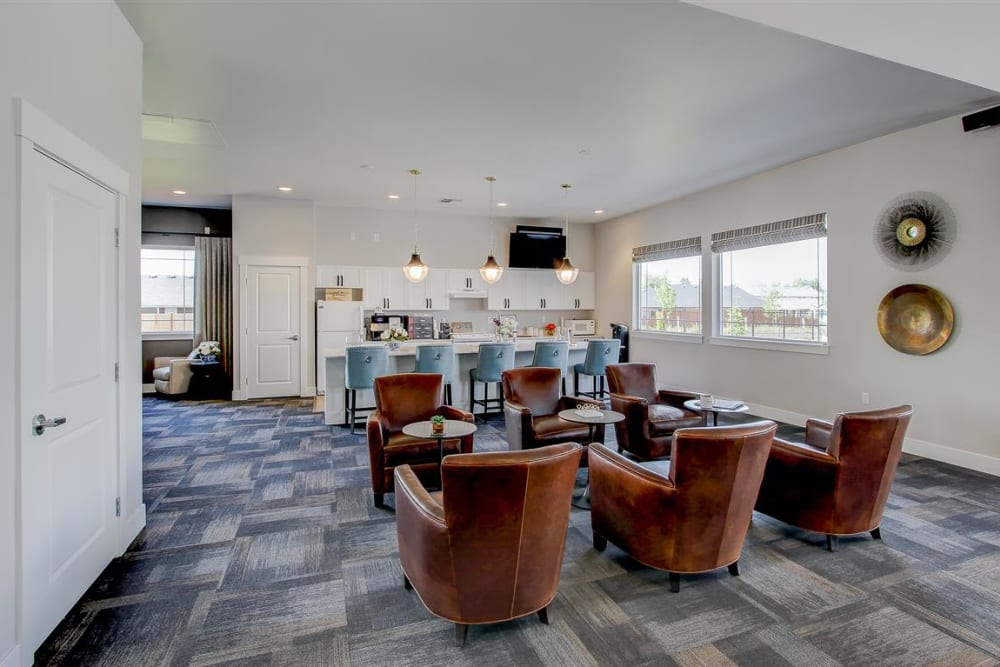 Comfortable seating in community kitchen at LARC at Kent in Kent, Washington