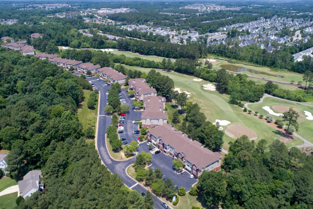 Aerial view of Preston View in Morrisville, North Carolina on a clear day