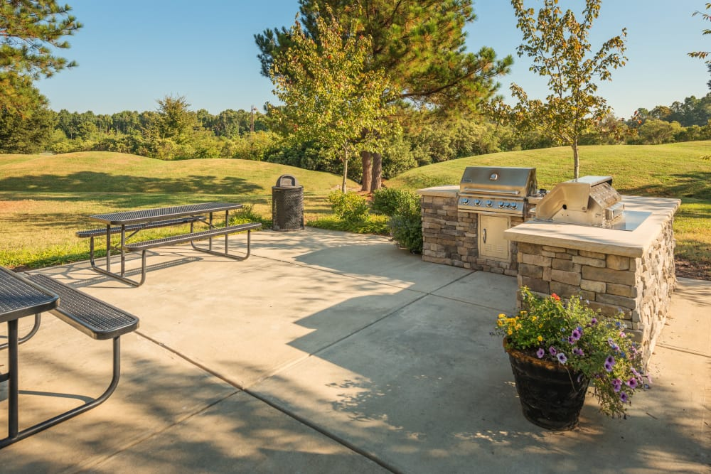 Outdoor grilling area at Preston View in Morrisville, North Carolina