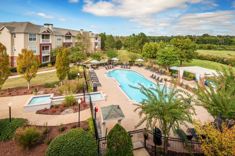Beautiful sparkling pool on a sunny day at Preston View in Morrisville, North Carolina