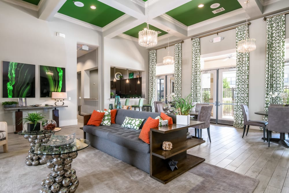 Clubhouse with green accents at Sorrel Phillips Creek Ranch in Frisco, Texas