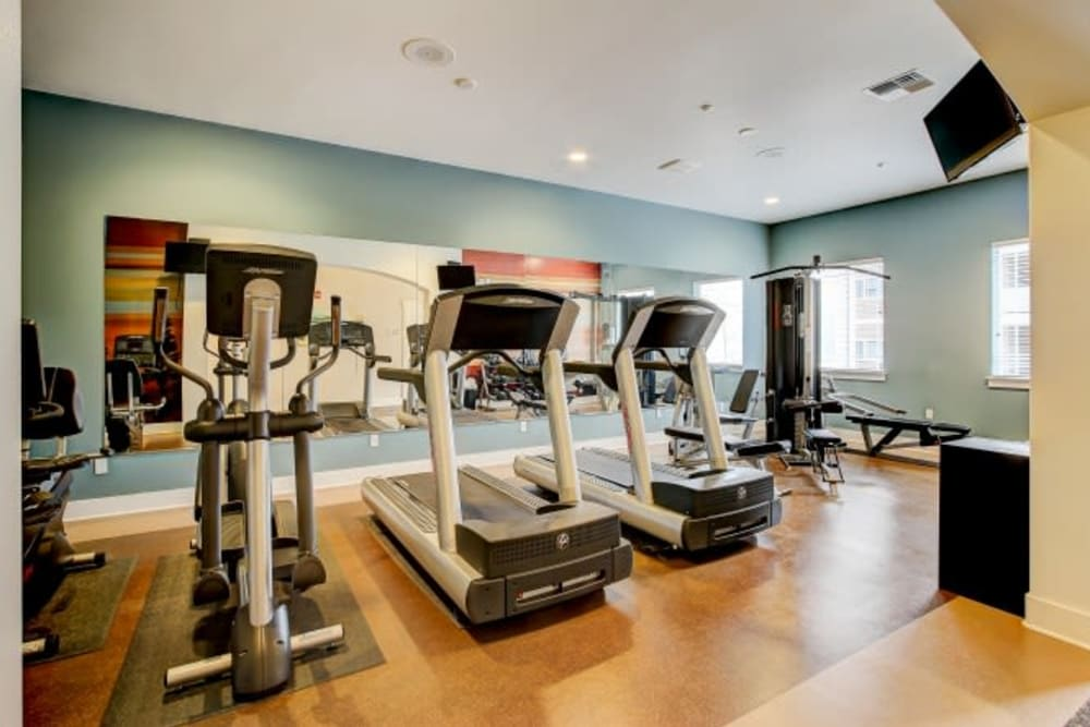 Gym with individual fitness studios at LARC at Olympia in Olympia, Washington