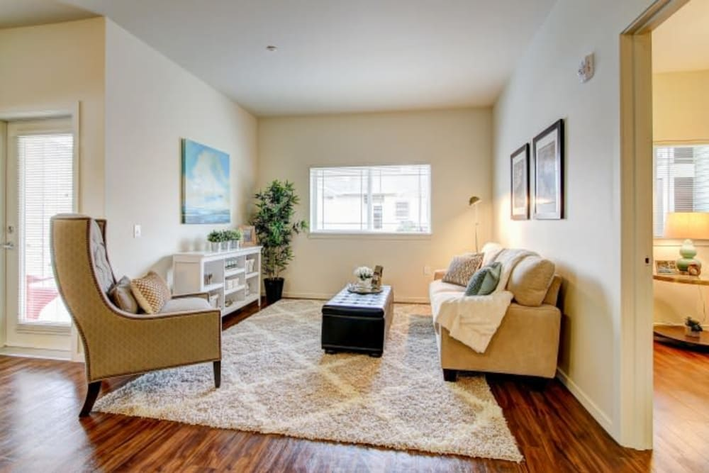 Spacious living room at LARC at Olympia in Olympia, Washington