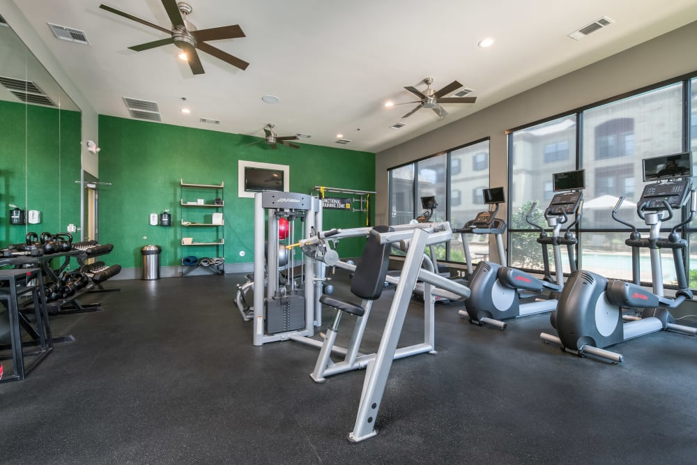 Fully equipped fitness center at Sorrel Phillips Creek Ranch in Frisco, Texas