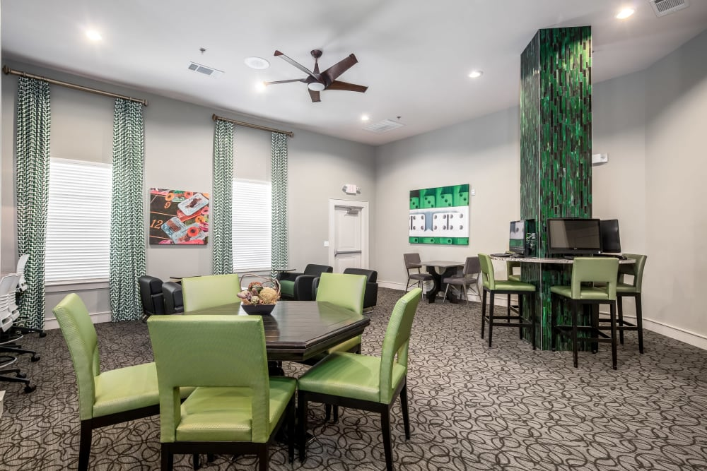 Business center with green accents at Sorrel Phillips Creek Ranch in Frisco, Texas