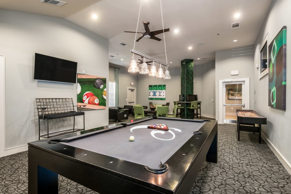 Pool table in clubhouse at Sorrel Phillips Creek Ranch in Frisco, Texas