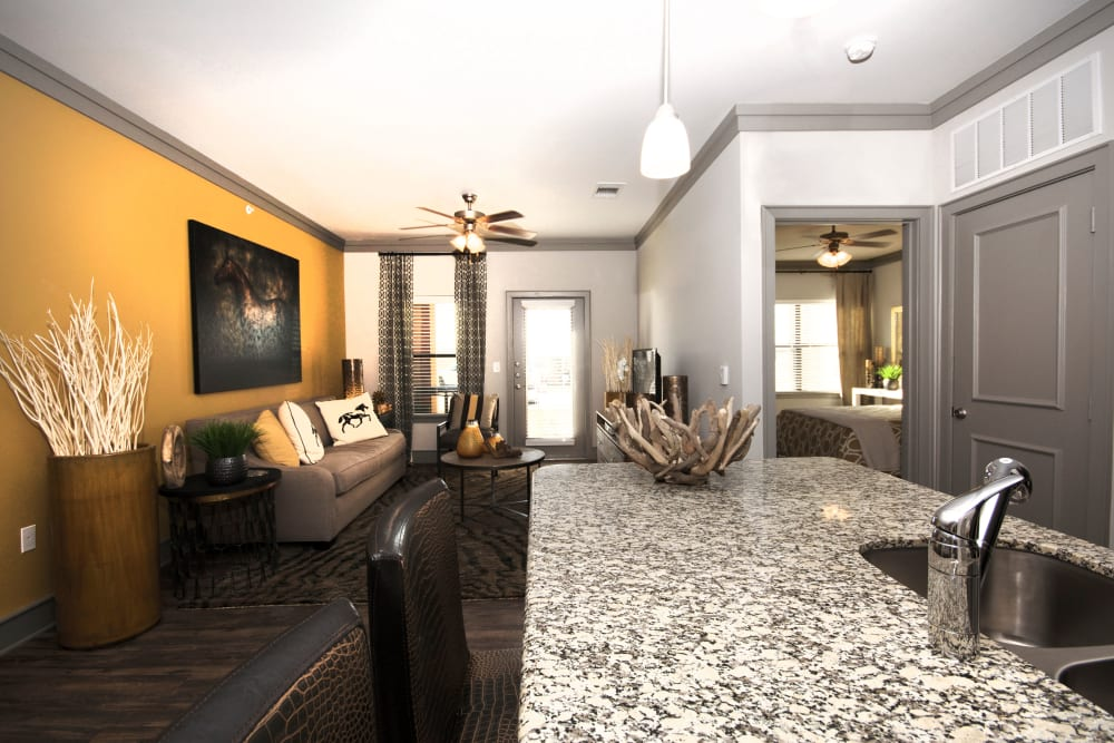 Model Kitchen and living room at The Sovereign in Fort Worth, Texas