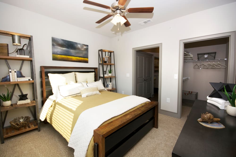 Model Master bedroom at The Sovereign in Fort Worth, Texas