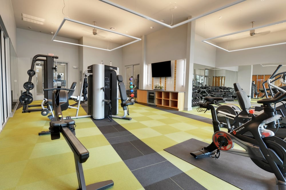 Fitness center at apartments in Austin, Texas