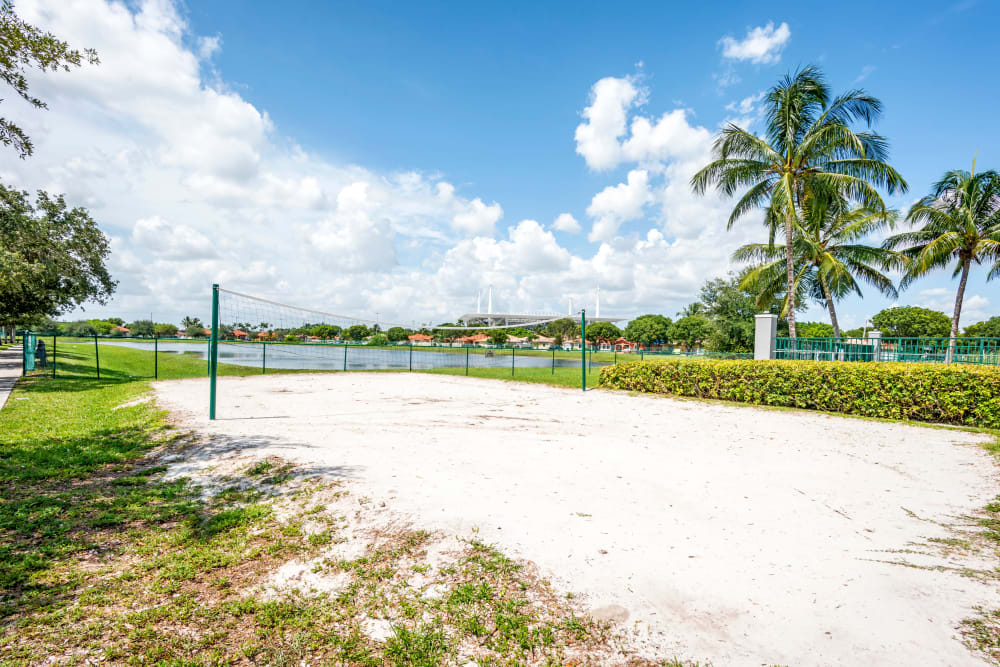 A full-size beach volleyball court at Cedar Grove Apartments in Miami Gardens, Florida