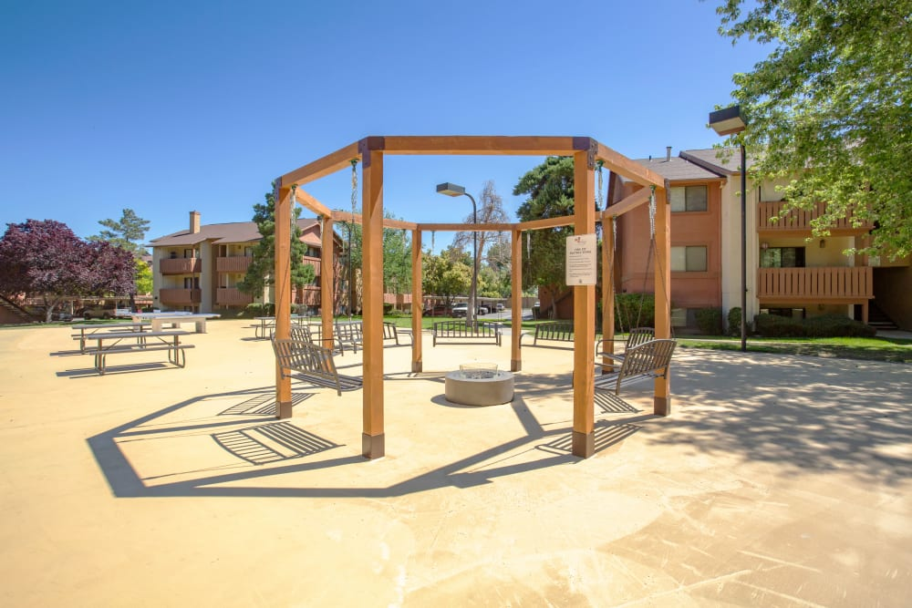 Fire-pit swing lounge and picnic areas