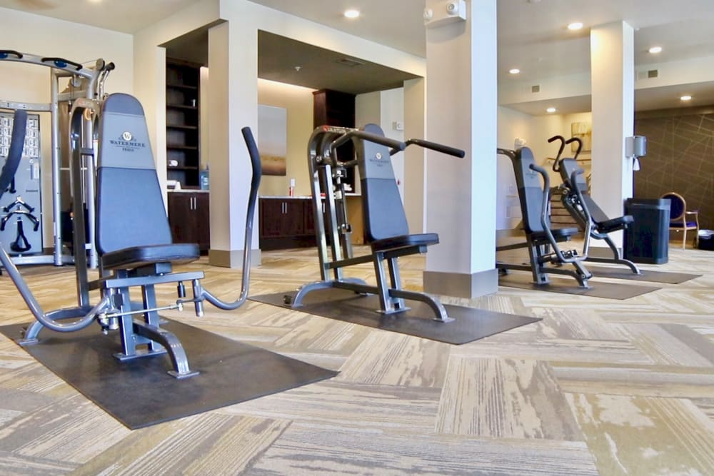 Fitness center at Landing at Watermere Frisco in Frisco, Texas
