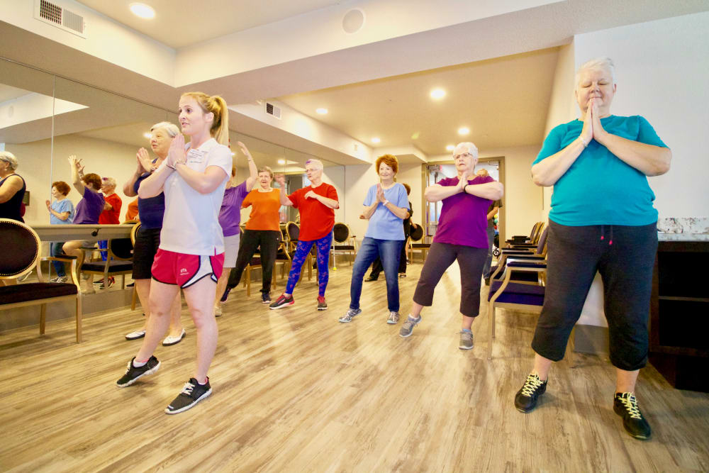 Residents taking a fitness class at Watercrest at Mansfield in Mansfield, Texas