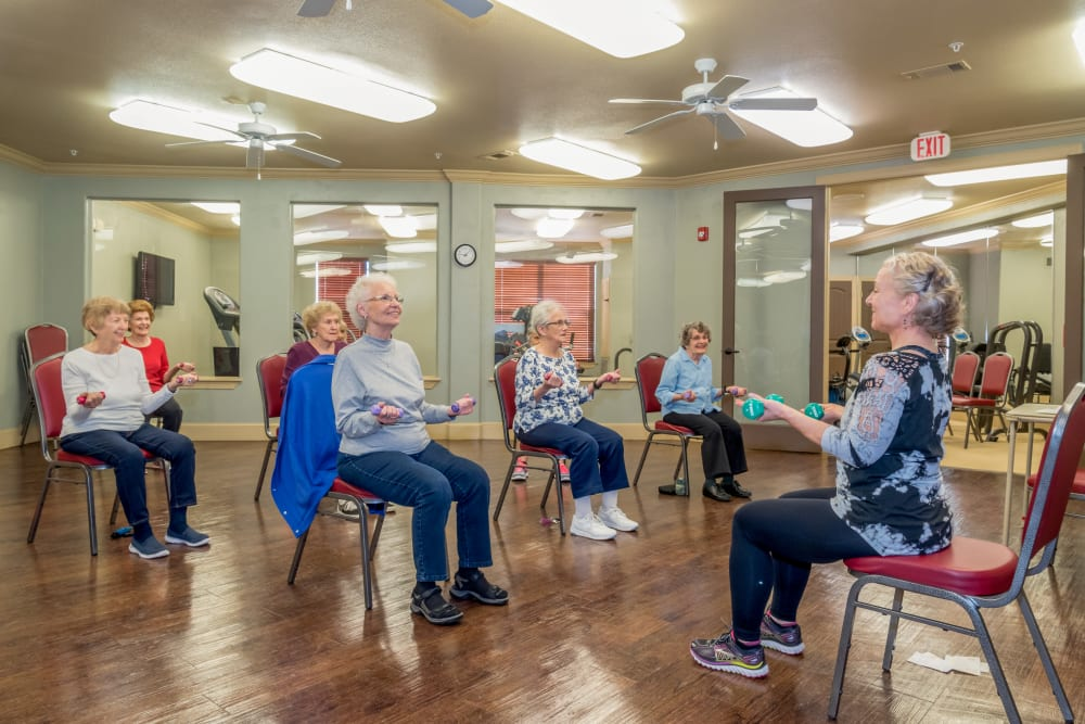 Fitness class at an Integrated Senior Lifestyles community