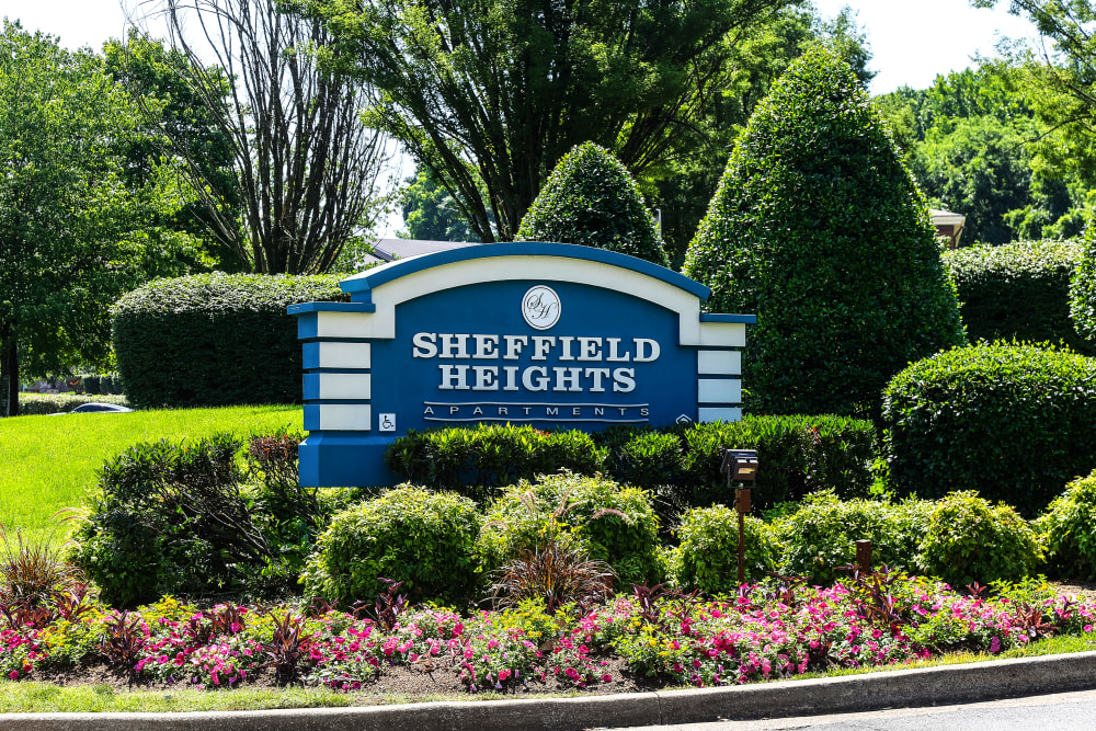 Entry Sign at Sheffield Heights Apartment Homes in Nashville, Tennessee