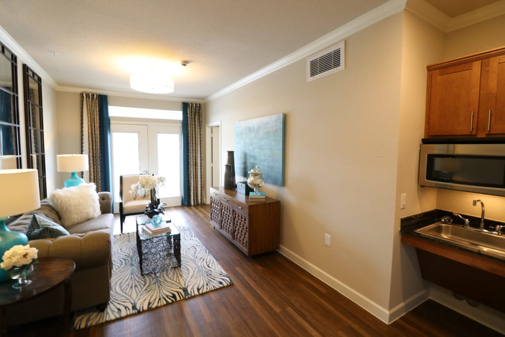 Open and well-lit studio apartment at Landing at Watermere Frisco in Frisco, Texas