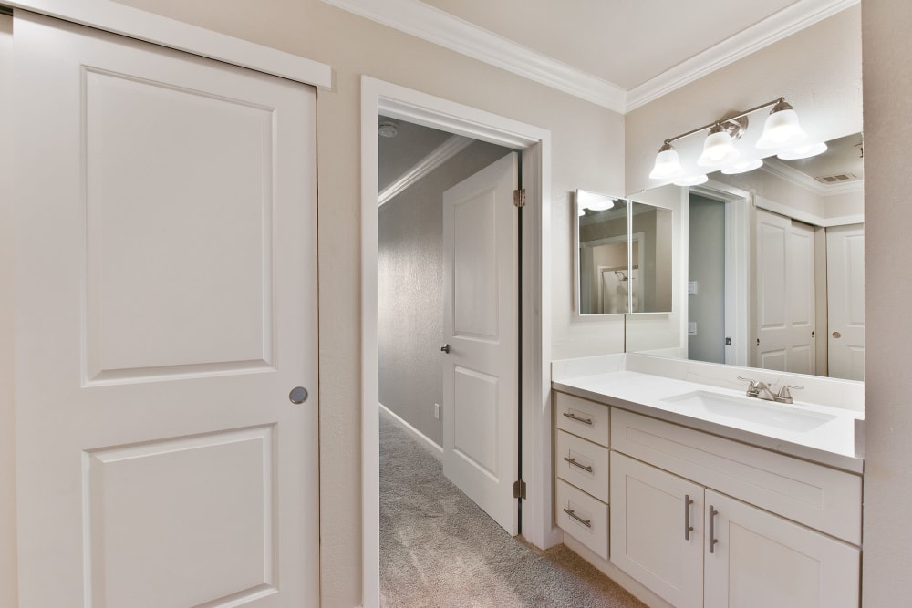Large master bathroom with a closet at Tower Apartment Homes in Alameda, California