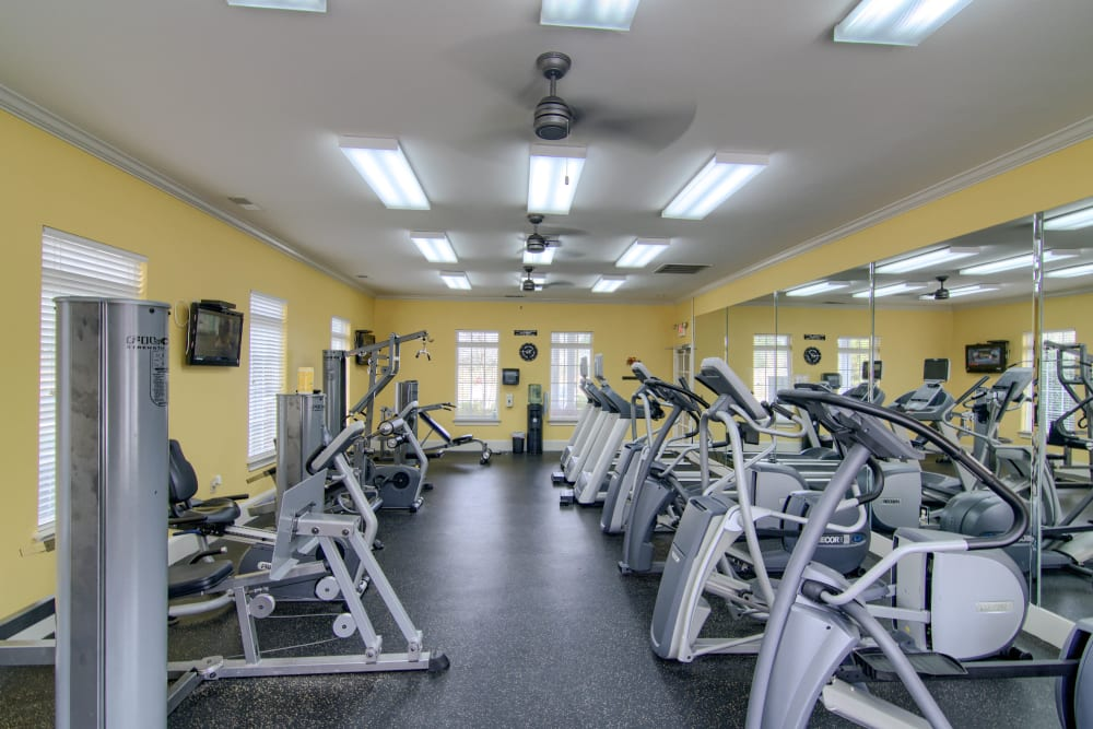 Resident 24-hour fitness center at Reserve at Long Point in Hattiesburg, Mississippi