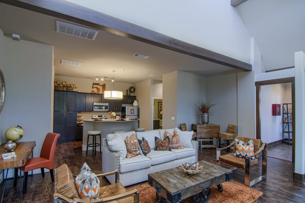 Spacious living room with office nook at Tradan Heights in Stillwater, Oklahoma