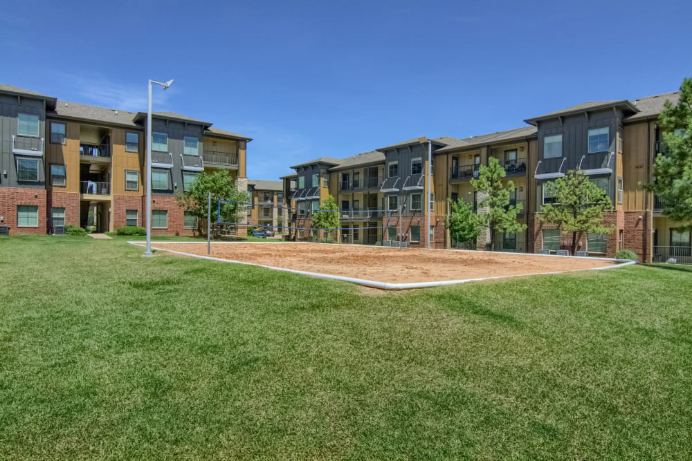 Community volleyball court at Tradan Heights in Stillwater, Oklahoma