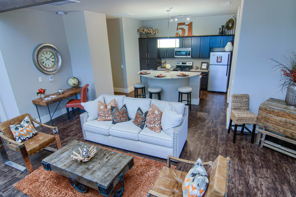 Rustic living room in the model home at Tradan Heights in Stillwater, Oklahoma