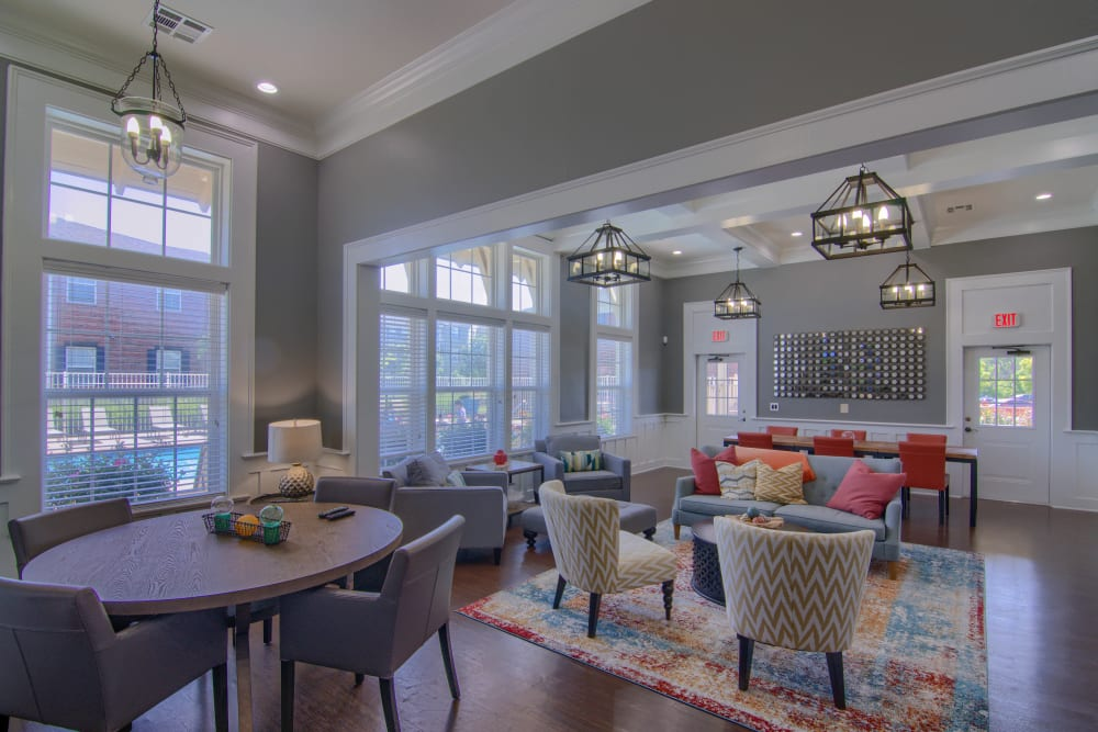 Resident clubhouse lounge at Traditions at Westmoore in Oklahoma City, Oklahoma.