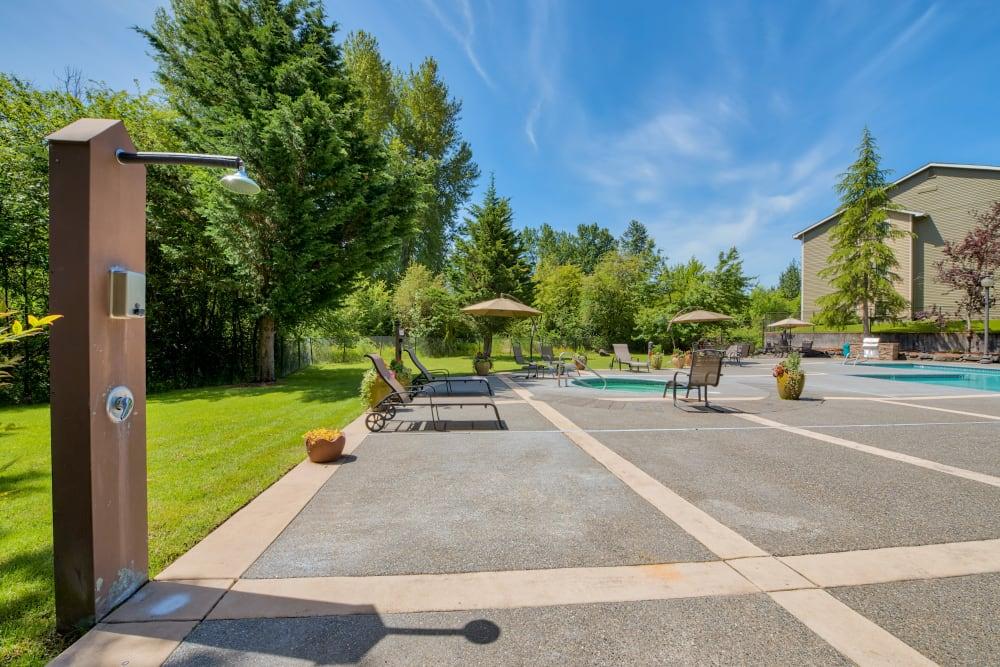 Swimming Pool Outdoor Shower at Aravia Apartments in Tacoma, Washington
