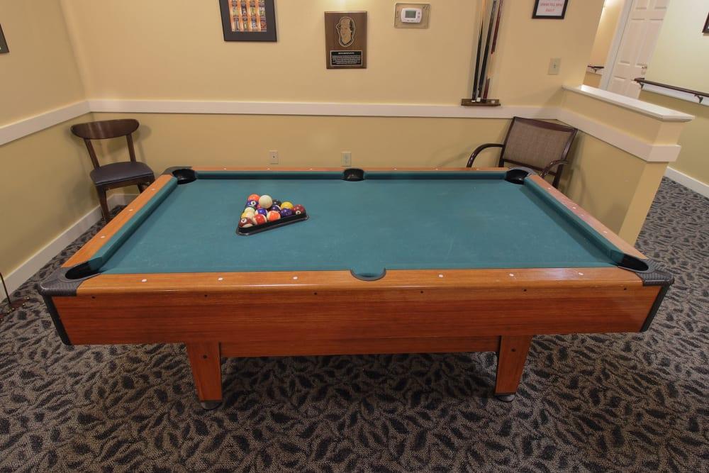 Billiards table at The Groves at Oak Ridge in Oak Ridge, Tennessee