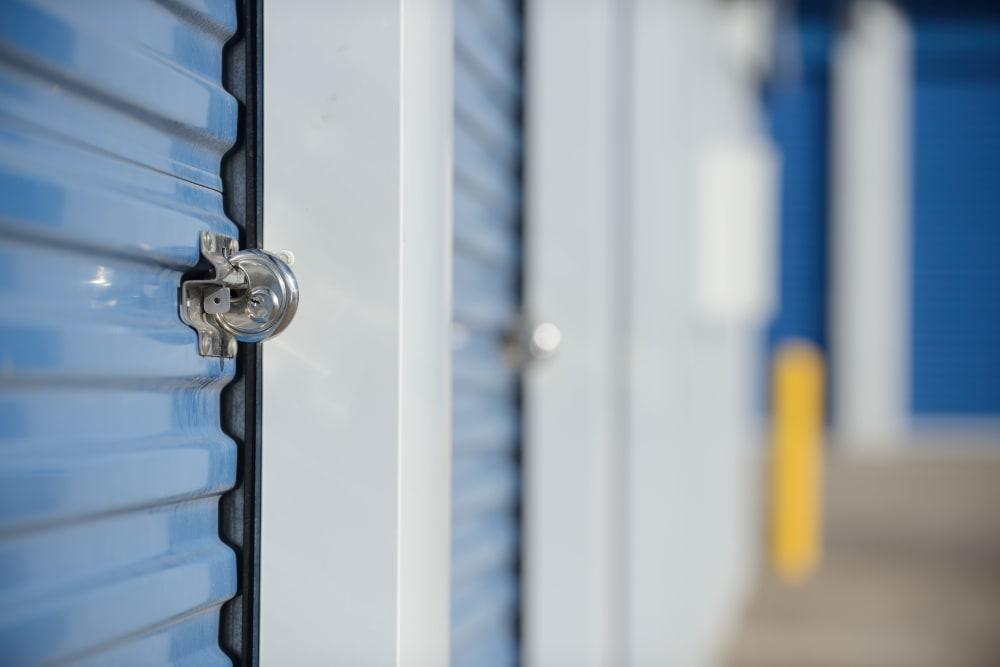 A blue storage unit at Castro Valley Hayward Storage in Castro Valley, California