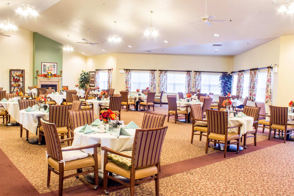 The community dining room at Rivercrest Place in Paducah, Kentucky