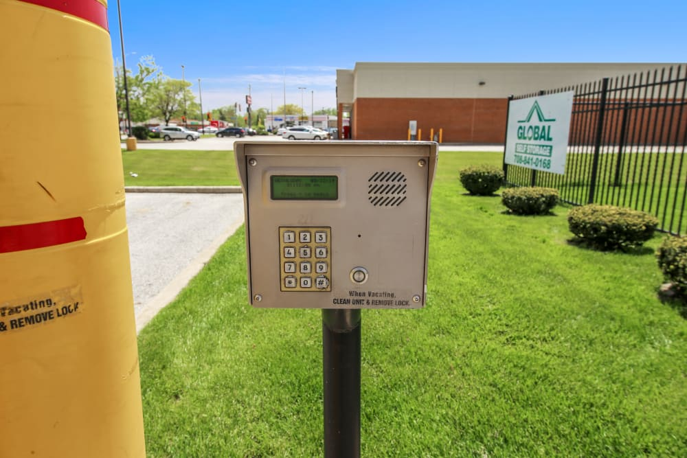 A pincode security feature at Global Self Storage in Dolton, Illinois