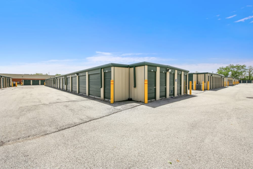 Outdoor storage units at Global Self Storage in Dolton, Illinois