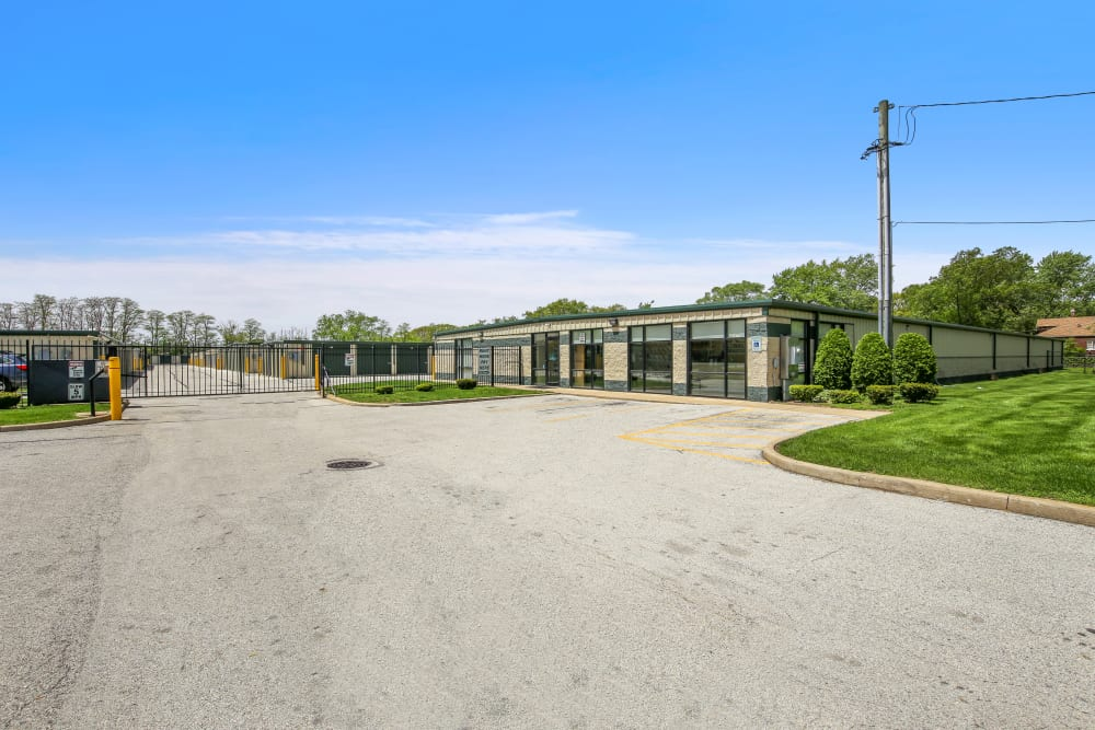 A gated facility with storage units at Global Self Storage in Dolton, Illinois