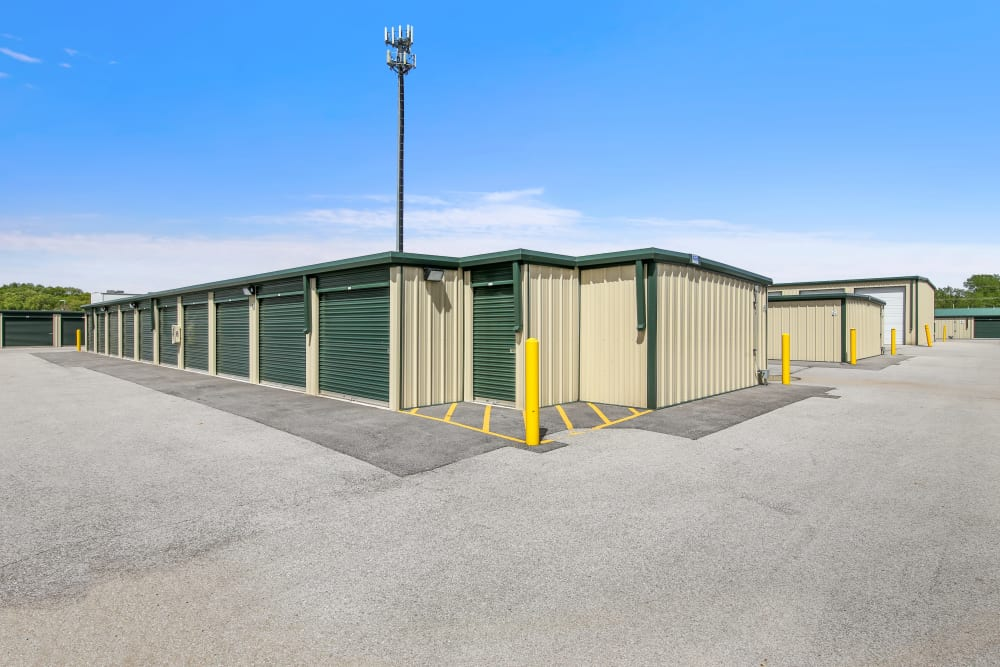 Outdoor storage units at Global Self Storage in Merrillville, Indiana