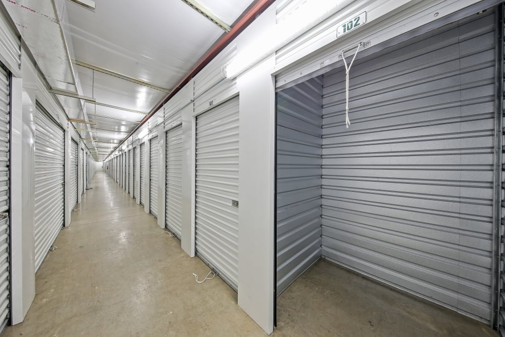 Interior storage units at Global Self Storage in Merrillville, Indiana