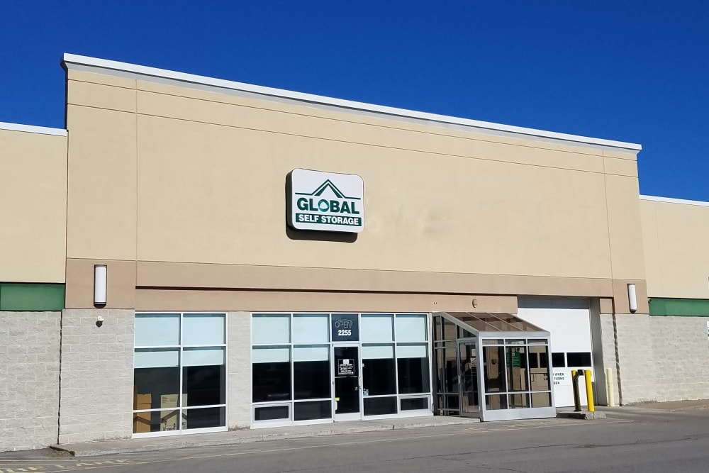 The front of the building at Global Self Storage in Rochester, New York
