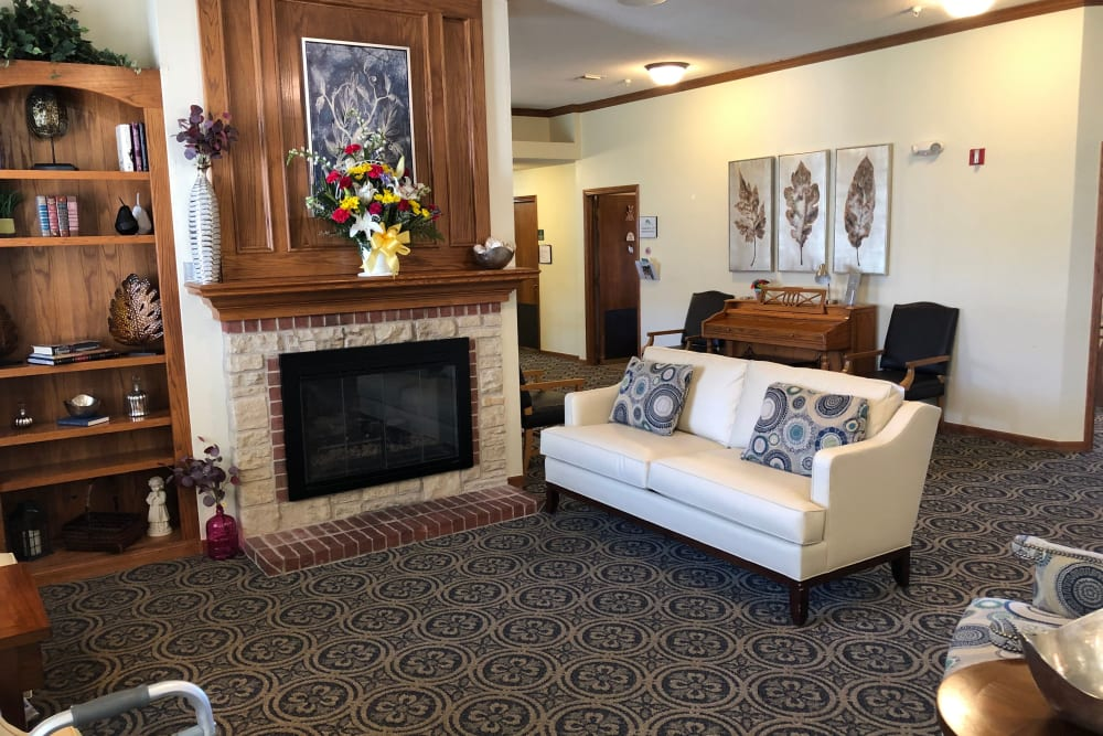Lounge with fireplace at Alderbrook Village in Arkansas City, Kansas.
