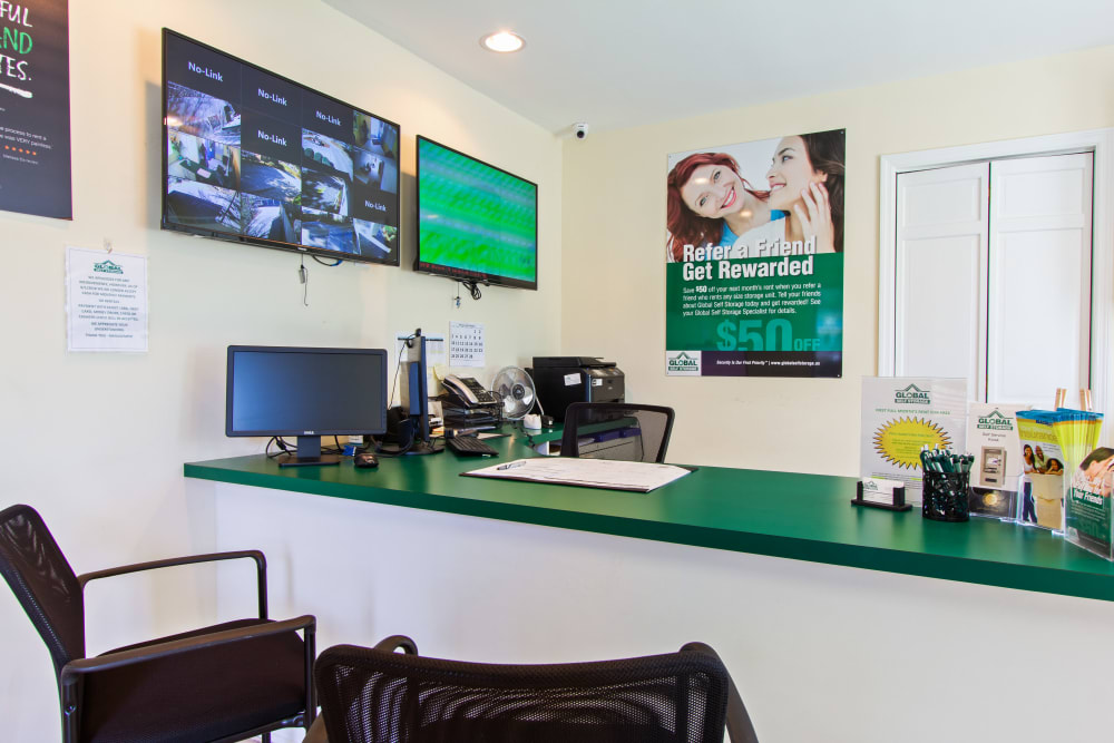 The front desk at Global Self Storage in Summerville, South Carolina