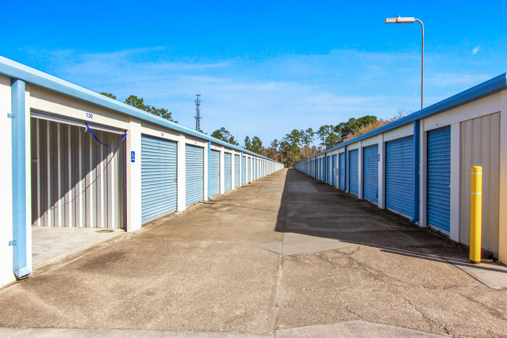 Outdoor storage units at Global Self Storage in Summerville, South Carolina