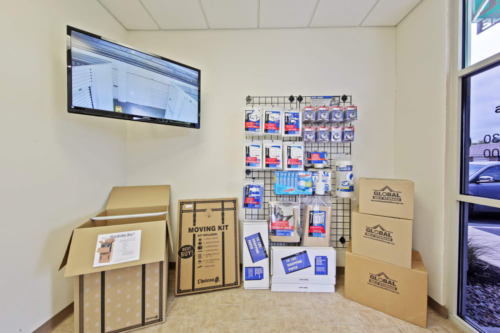 Storage supplies sold at Global Self Storage in McCordsville, Indiana
