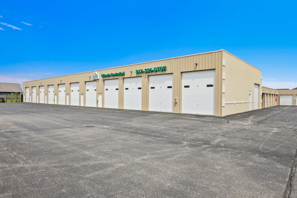Outdoor storage units at Global Self Storage in McCordsville, Indiana