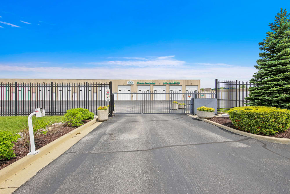 The security gate at Global Self Storage in McCordsville, Indiana
