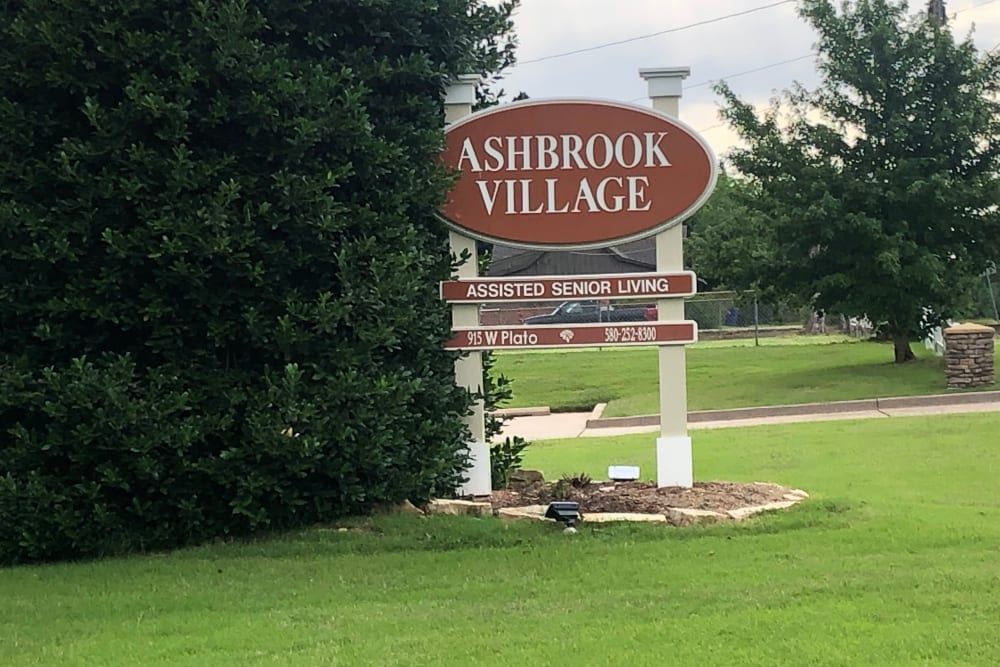 Ashbrook Village entry sign in Duncan, Oklahoma.