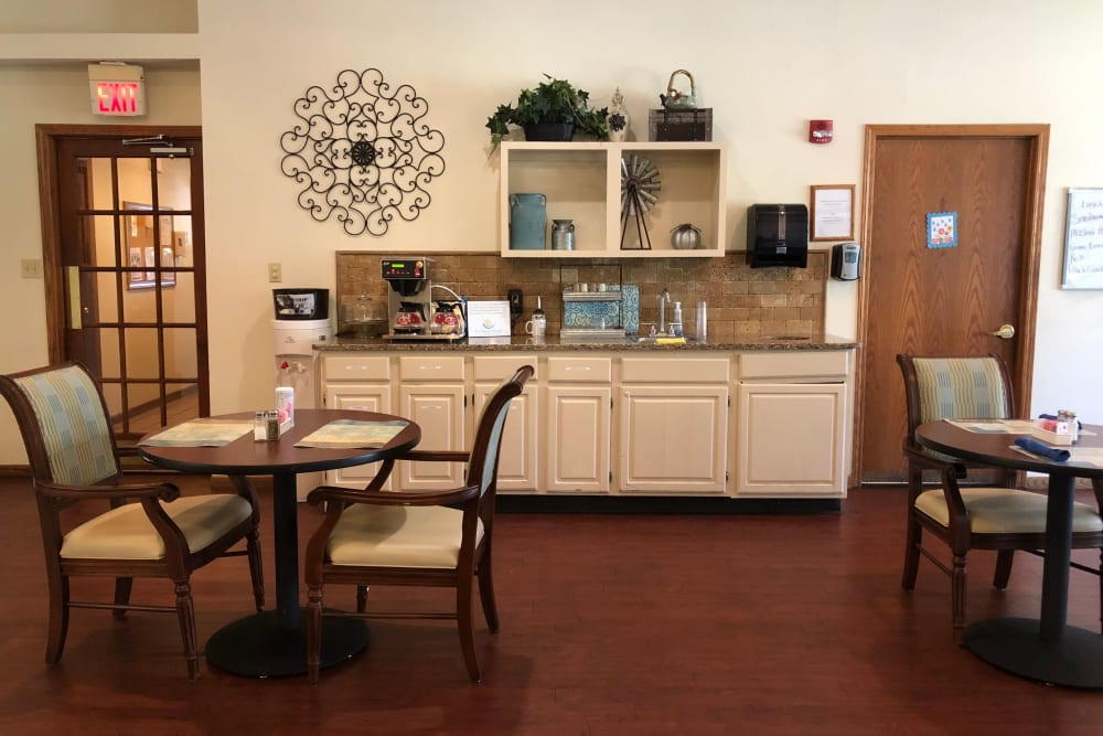Dining area at Creekside Village in Ponca City, Oklahoma.