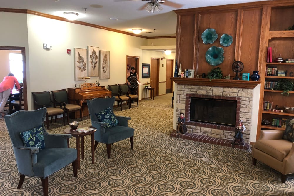 Lounge with fireplace at Creekside Village in Ponca City, Oklahoma.