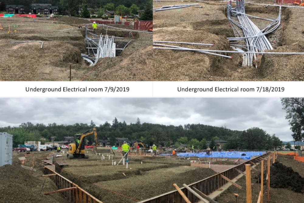 Underground electrical photos at The Landing a Senior Living Community in Roseburg, Oregon